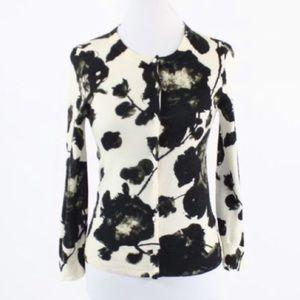J Crew black blossoms cardigan sweater